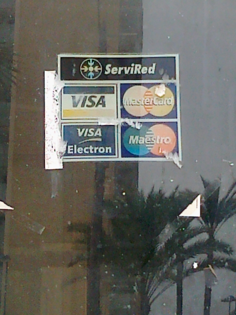 ServiRed, payment processor company, on close restaurant on calle de santander, basement of Atalaya
