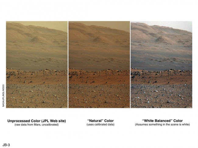 'Raw,' 'Natural' and 'White-Balanced' Views of Martian Terrain, These three versions of the same image taken by the Mast Camera (Mastcam) on NASA's Mars rover Curiosity illustrate different choices that scientists can mak...