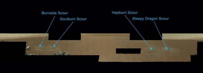 Naming the Scour Marks, Scientists have now named the four marks near NASA's Curiosity rover where blasts from the descent stage rocket engines blew away some of the Martian surface...