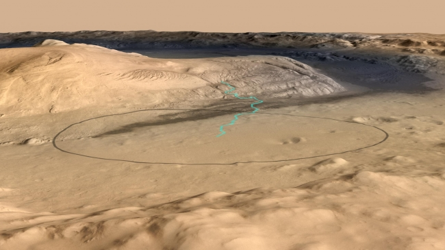 Destination for Mars Rover Curiosity,  Unannotated Version Click on the image for larger view This image shows the target landing area for Curiosity, the rover of NASA's Mars Science Laboratory m...