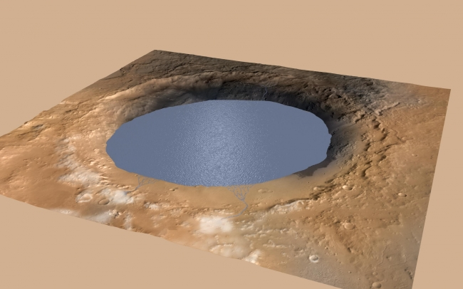 Simulated View of Gale Crater Lake on Mars, This illustration depicts a lake of water partially filling Mars' Gale Crater, receiving runoff from snow melting on the crater's northern rim. Evidence of a...