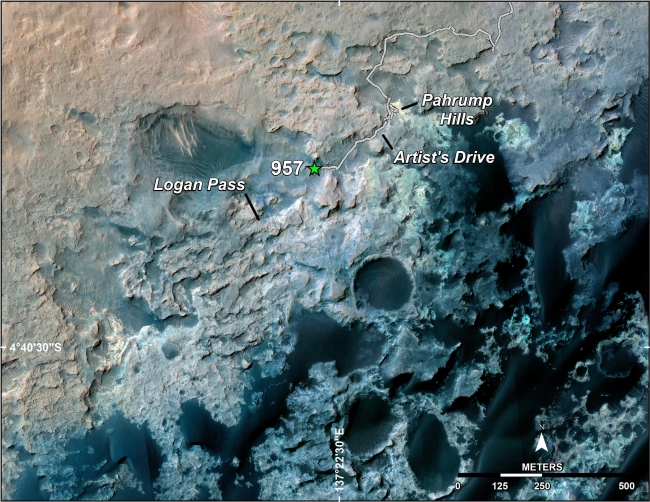 Curiosity's Position After 10 Kilometers, A green star marks the location of NASA's Curiosity Mars rover after a drive on the mission's 957th Martian day, or sol, (April 16, 2015). The map covers an ...