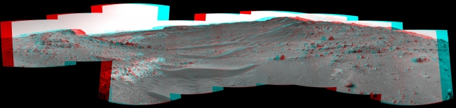 Curiosity View Ahead Through 'Artist's Drive' (Stereo), This stereo view from the Navigation Camera (Navcam) on NASA's Curiosity Mars rover shows the terrain ahead of the rover as it makes its way westward through...