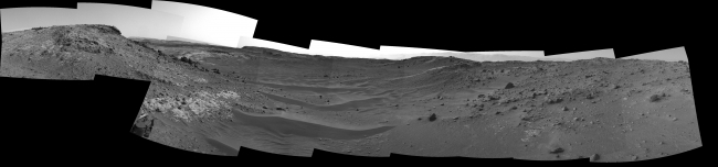 Curiosity View Ahead Through 'Artist's Drive', This view from the Navigation Camera (Navcam) on NASA's Curiosity Mars rover shows the terrain ahead of the rover as it makes its way westward through a vall...