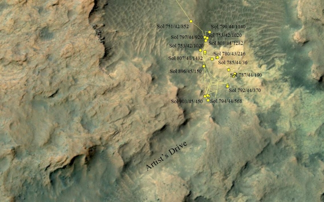 """Curiosity Heading Away from 'Pahrump Hills',  This area at the base of Mount Sharp on Mars includes a pale outcrop on the right, """"Pahrump Hills,"""" where NASA's Curiosity Mars rover worked for nearly six ..."""