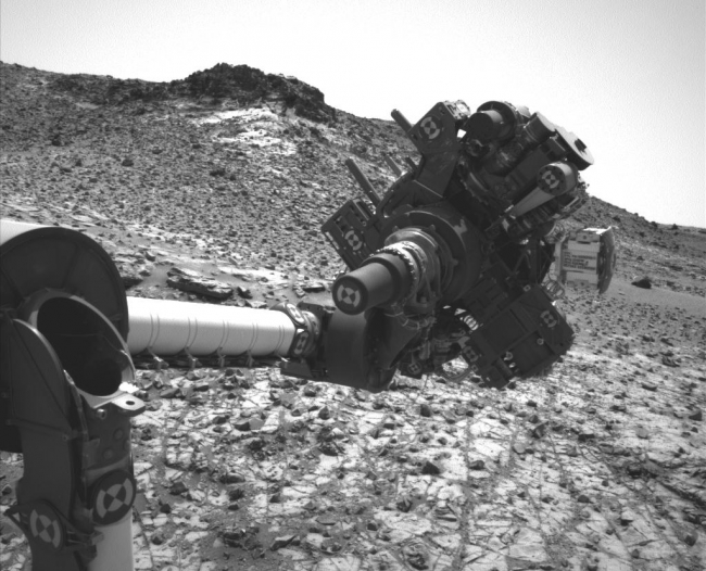 Curiosity's Arm Holding Steady, Sol 915, This image from the Navigation Camera (Navcam) on NASA's Curiosity Mars rover shows the position in which the rover held its arm for several days after a tra...