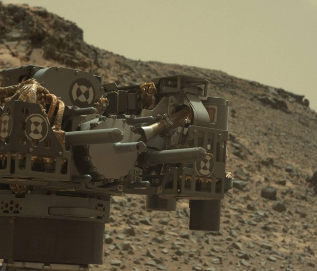 Curiosity's Drill After Drilling at 'Telegraph Peak', This view from the Mast Camera (Mastcam) on NASA's Curiosity Mars rover shows the rover's drill just after finishing a drilling operation at a target rock ca...