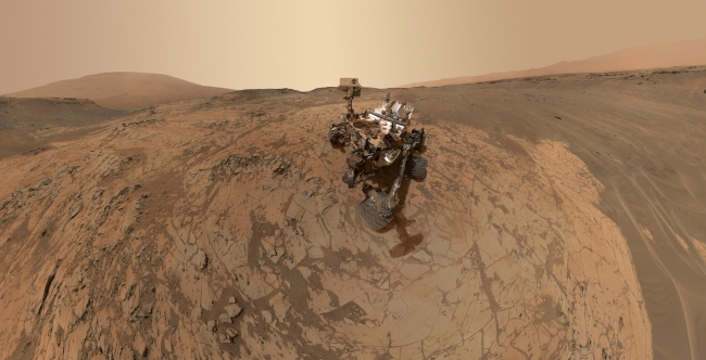 """Curiosity Self-Portrait at 'Mojave' Site on Mount Sharp, Annotated Figure Click on the image for larger annotated version This self-portrait of NASA's Curiosity Mars rover shows the vehicle at the """"Mojave"""" site, wh..."""