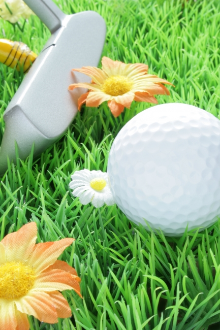 Goldball and putter on artificial grass, great depth of field, Goldball and putter on artificial grass with white and orange flowers, great depth of field, crisp focus all over