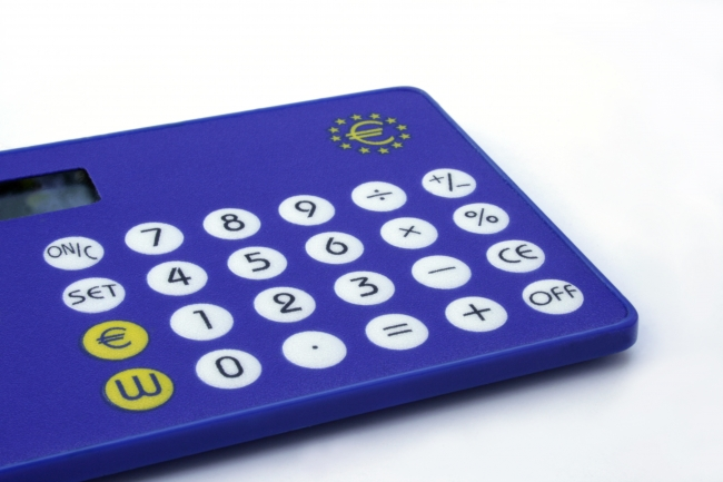Blue EURO currency convertor calculator, Blue currency convertor calculator as issued for promotion and convenience during the EURO transition in the European Union.