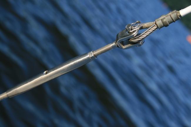 Ständerwerk Detail eines Segelboots,