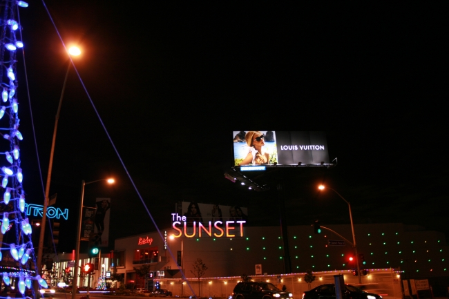 "Louis Vuitton billboard over ""The Sunset"" , Corner if Sunset Plaza Drive and Sunset Boulevard"