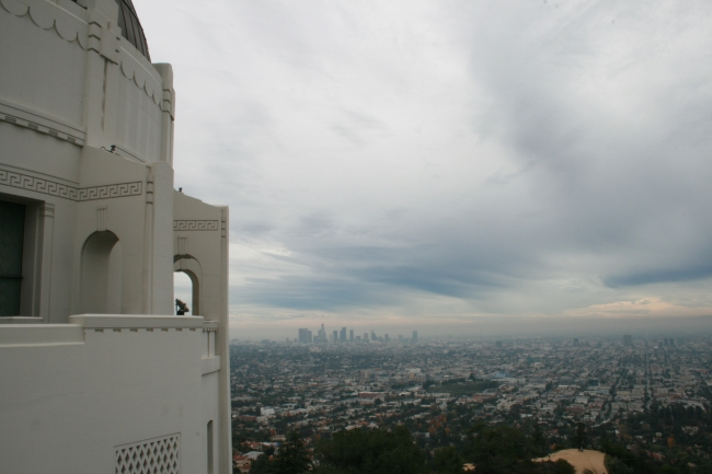 Looking over Los Angeles with Downtown in fog and a part of Griffith Park Obs. on the left, The Obs's commanding view of the Los Angeles Basin, including Downtown Los Angeles to the southeast, Hollywood to the south, and the Pacific Ocean to the sou...