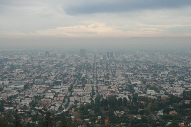 Los Angeles expanding into the infinity of smoke, mist and fog, taken on the balcony of Griffith Park Observatory
