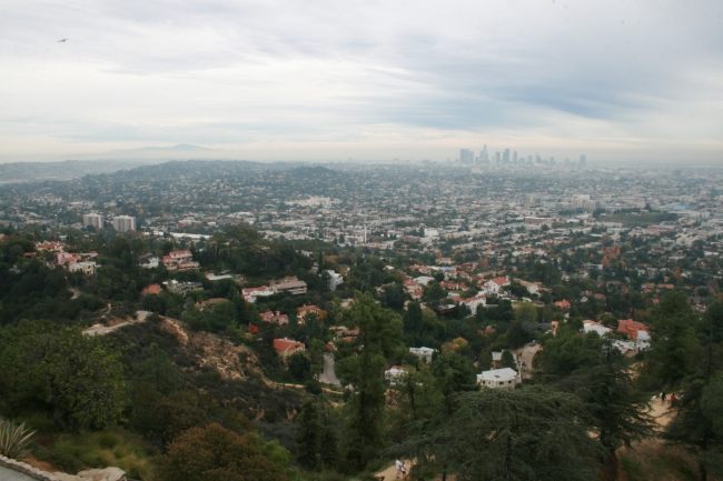 Looking south-east from Griffith Park Observatory, Downtown L.A. on the horizon, and the mountains surrounding the L.A. basin