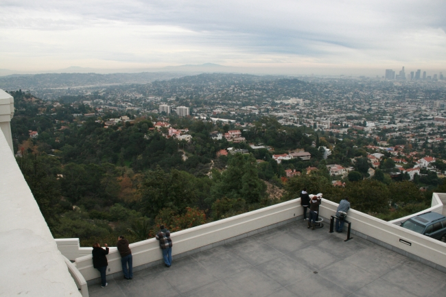 Overlooking eastern Los Angeles from the Observatory, with the lower balconies of the building underneath