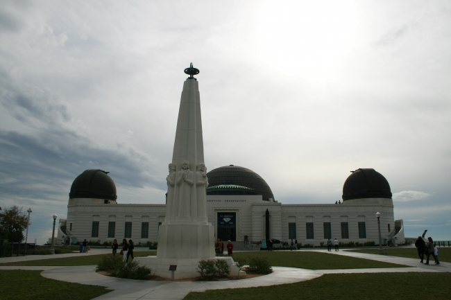 Commanding Griffith Park Observatory with the monument in front, wide-angled view with lots of sky