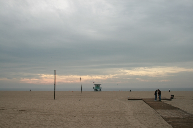 Evening on Los Angeles beach,