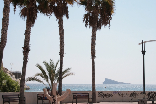 """Isla de Benidorm"" and a sun dial from the corner of Port de Benidorm,"