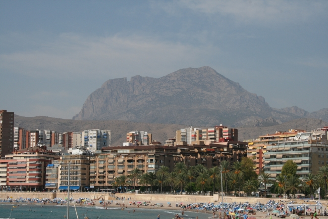 The mountain behind Poniente beach, Parc d'Elx and beach in foreground