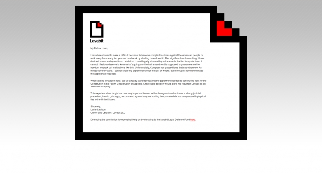Lavabit down, email service deactivation note