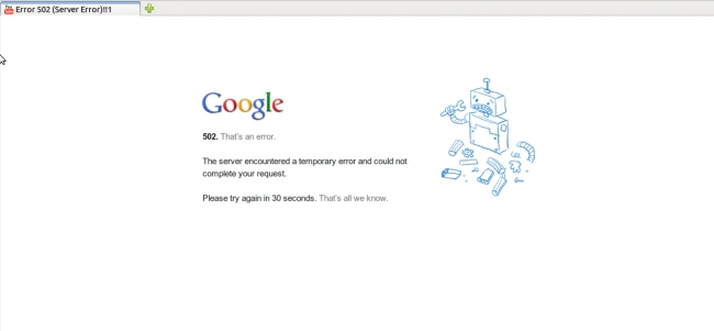 Google 502 server error on YouTube,