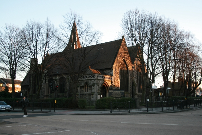 Forest Gate's central church, next to a pub,