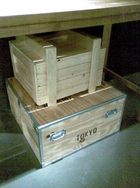 """Inside the NATIONAL GEOGRAPHIC """"ADVENTURE/EXPEDITION"""" store, wooden boxes"""