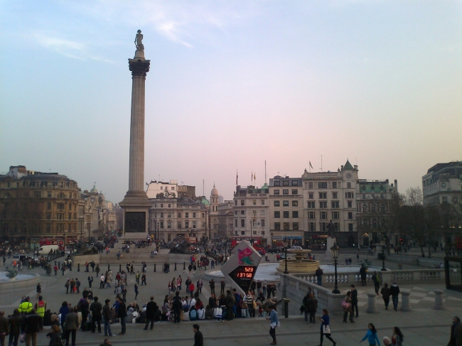 Trafalgar Square, w/ Countdown to the Olympics, as seen from the National Gallery