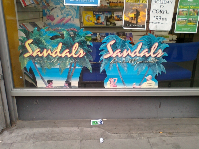 Advert for Sandals hotels,