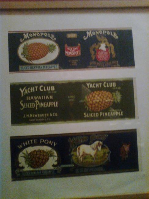 Monopole, Yacht Club Hawaiian Sliced Pinapple, White Pony, pinapple can labels