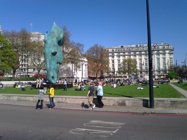 Copper horse head at Marble Arch,