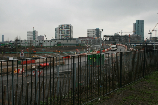 Looking East, I think, at the future site of the Olympic Games in London, where the sportmen will rest their heads and future tennants can rent remodeled space for living after the...
