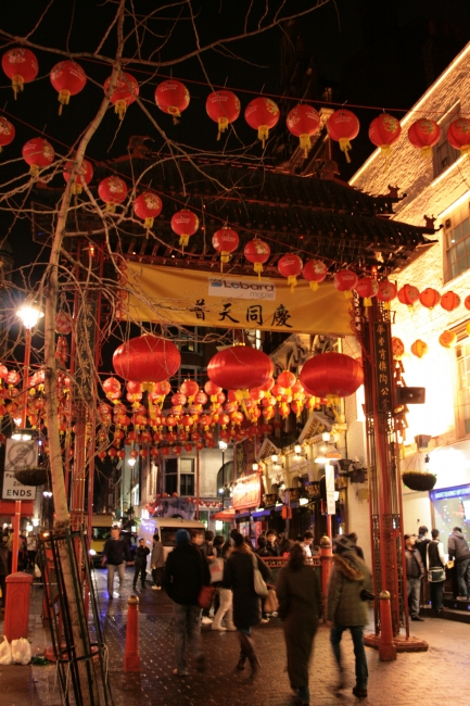 Busy Chinatown, the portal, darker