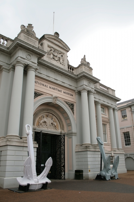 Entrance to the National Maritime Museum, with 2 anchors
