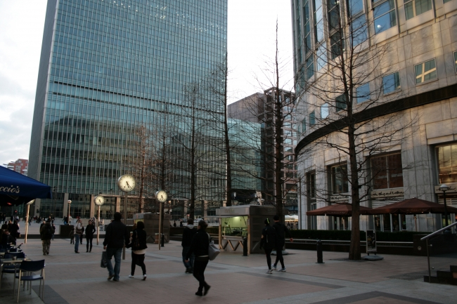 """""""The square with the clocks"""", at Canary Wharf, where bank people spend their lunch time"""