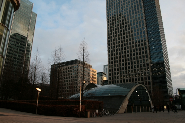 Tube station at Canary Wharf, with signature entrance, if you want to see giant escalators, come here