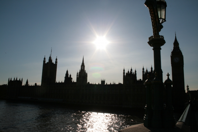 Sun over Houses of Parliament, with Big Ben