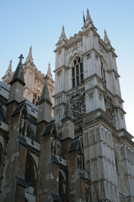 Tower & Clock detail of Westminster Abbey,