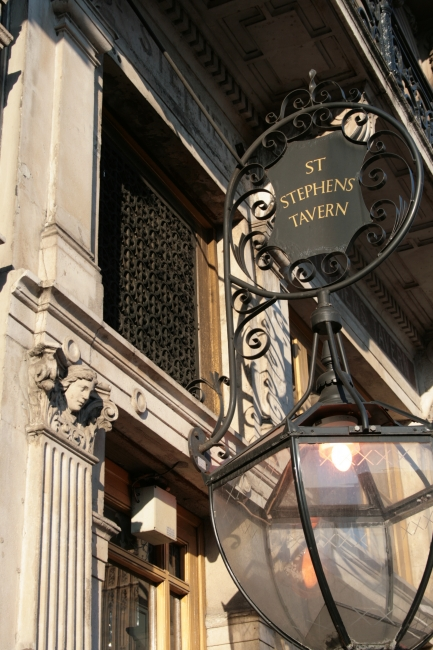 "Close-up of ""St. Stephens Tavern"" sign,"