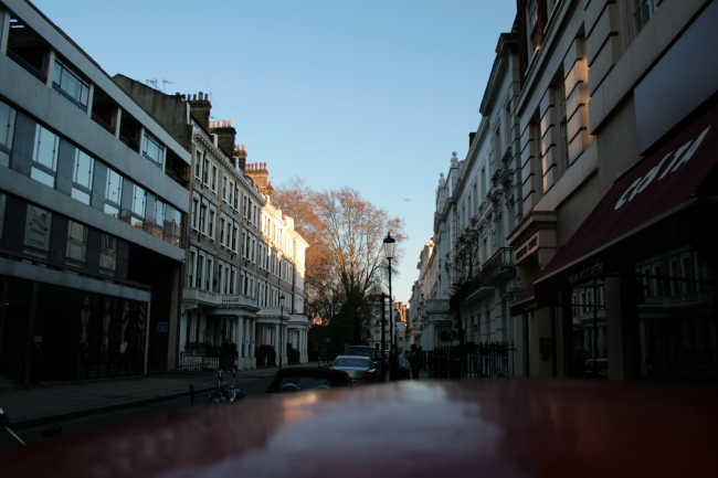 """Kensington streets, with some white houses and their signature """"upper class"""" doorways, Costa Coffee not far..."""