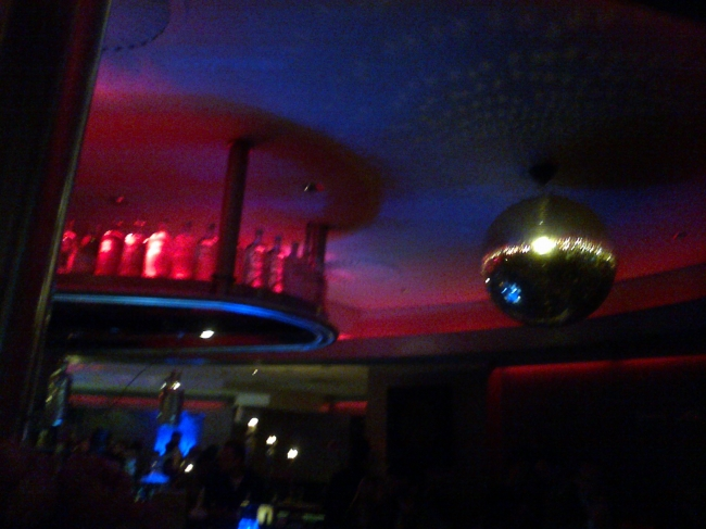 Disco Ball on the ceiling of some bar,