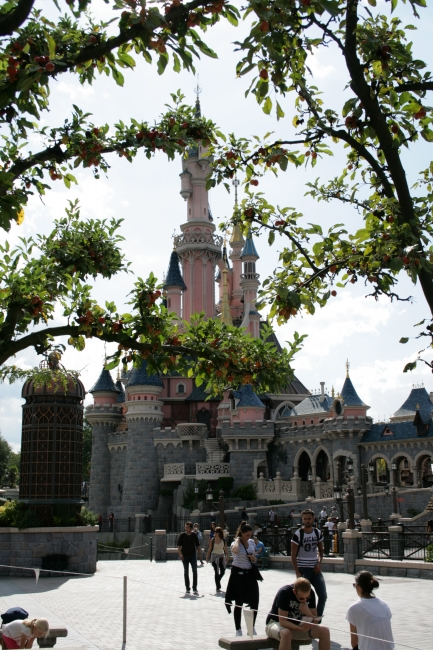 The Castle through leaves, it's debatable if the Sleeping Beauty castle is on Main Street or already part of Fantasyland which lies behind