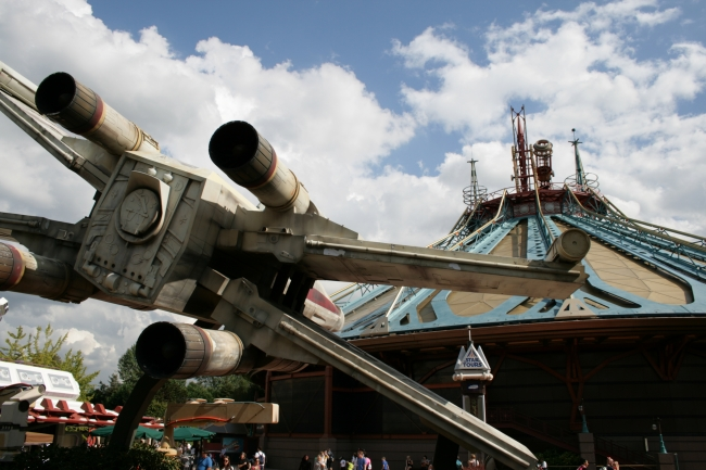 "X-Wing ""attacking"" Space Mountain at DLP,"