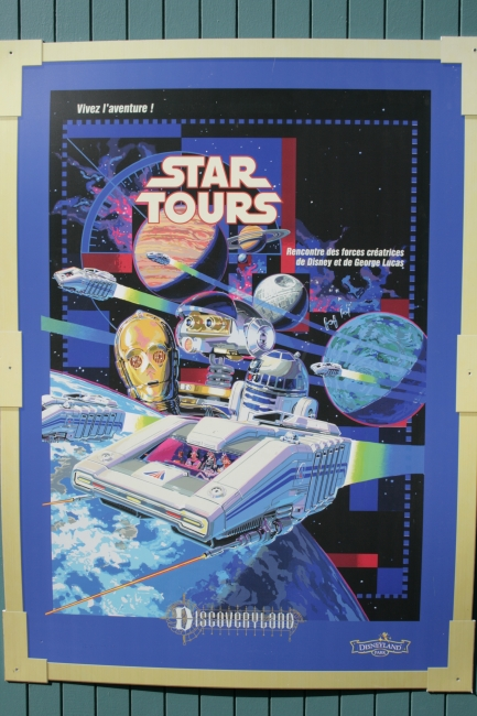 Star Tours poster, C3PO and R2D2, amd some original Disney artwork