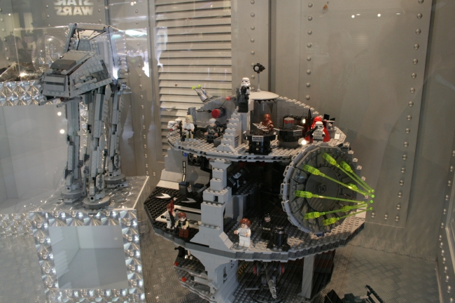 LEGO AT-AT walker and Deathstar, at the Star Trader shoppe, clearly showing the result of the Disney/LEGO/Lucasfilm alliance