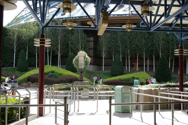 Backside Space Mountain gardening, as seen from Disoverland Theatre queueing area