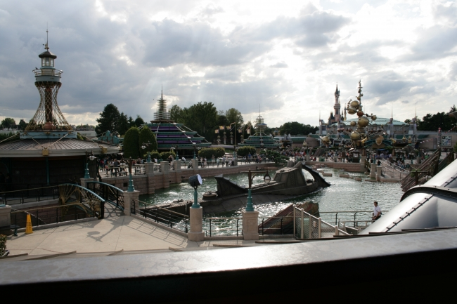 Overlooking Discoveryland, from the elevated queueing area of Space Mountain: Nautilus, Autopia, Orbitron and Sleeping Beauty castle