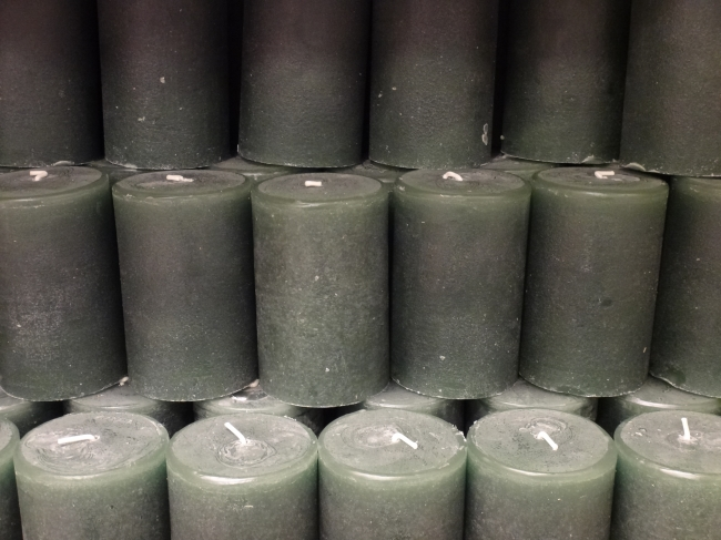 Green-grey candles,